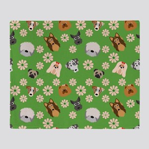Dogs and Flowers on Green Background Throw Blanket